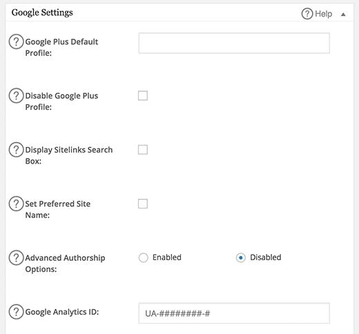 Setting All in One SEO Pack - Google Settings