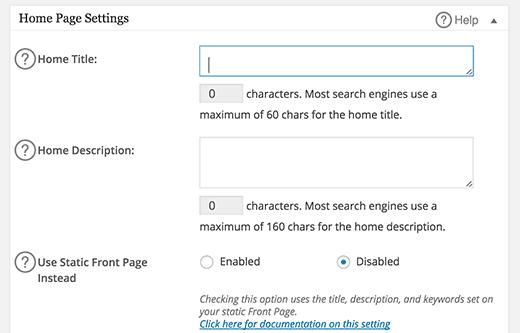 Setting All in One SEO Pack - Homepage Settings
